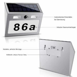 ECHTPower Solar Hausnummer mit Bewegungsmelder