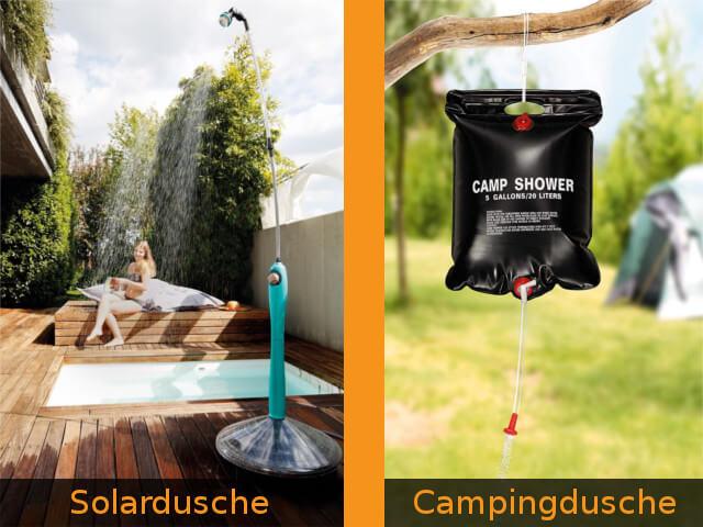 Unterschied Solardusche Campingdusche